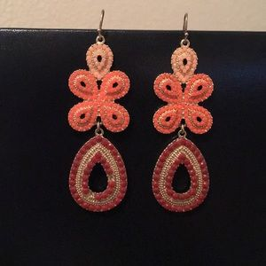 Gold drop earrings with bead-gems